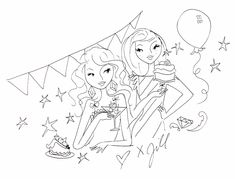 Party-tekening van Jill. Get The Party Started, Smash Book, Mandala Design, Designs To Draw, Creative Design, Bff, Doodles, Drawings, Elsa