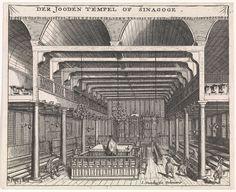 Interieur van de Portugese synagoge op de Houtgracht in Amsterdam, Jan Veenhuysen, 1665