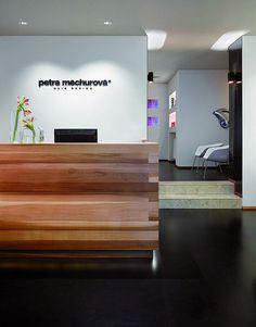 The Petra Mechurova Hair Design Salon Office Reception Area, Reception Desk Design, Reception Areas, Dental Office Design, Design Offices, Modern Offices, Hair Salon Interior, Clinic Design, Healthcare Design