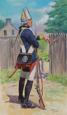 SOLDIERS- Troiani: AWI- Hessian: Hessian Fusilier Regiment Von Ditfurth, Fusilier, 1776, by Don Troiani.