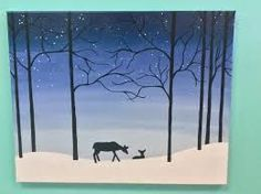 33 Trendy Diy Christmas Paintings For Kids Canvases Painting Snow, Winter Painting, Painting For Kids, Kids Canvas, Canvas Art, Canvas Paintings, Canvas Ideas, Winter Landscape, Landscape Art