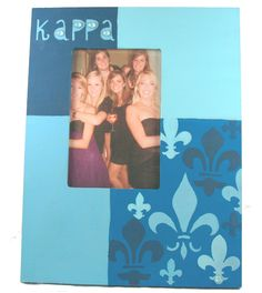 Kappa Kappa Gamma KKG large frame made using supplies and custom stencils from DIYGreek.com