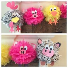Tissue paper pom pom farm animals
