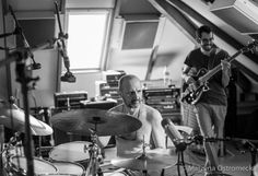 Jorge Rossy and Jaume Llombart tracking with Chris Cheek at Supertone Records Studio. Photo by Marzena Ostromecka © 2015