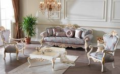 Efsun classic sofa set reel wood handmade golden leaf with different size and fabric options. Furniture, Home Decor Styles, Classic Sofa Sets, Royal Furniture, Luxury Dining Room, Living Room Sets Furniture, Classic Sofa, Classic Home Furniture, Sofa Set