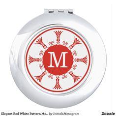 Elegant Red White Pattern Monogram Compact Mirror