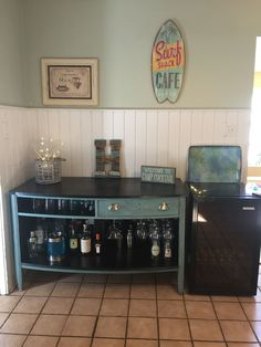 Repurposed dresser into wine bar/liquor cabinet.