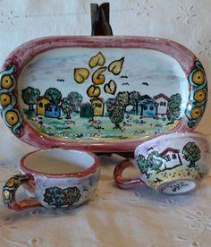 Servizio da caffè téte a téte in  ceramica.Paesaggio