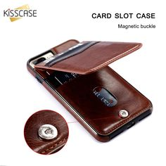 KISSCASE Vertical Flip Card Holder Leather Case For iPhone 6 6s 7 Plus Retro Cover Phone Bag Case For iPhone 7 6 6s Plus Pouch #Affiliate
