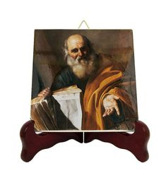 Catholic Saints serie - Saint Andrew the Apostle - icon on ceramic tile - St Andrew icon - Saints Art - icon on tile - St Andrew Apostle Catholic Gifts, Catholic Prayers, Catholic Art, Andrew The Apostle, Tile Murals, St Andrews, Art Icon, Religious Icons, My Works