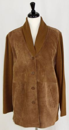 Womens Suede Sweater Jacket Saddle Brown Linea by Louis Dell'Olio L #Linea…