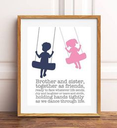Brother and sister wall art, big brother, siblings art, personalized kids art, shared room decor, boy girl art, brother sister quote #sharedkidsroomsdecor