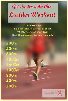 Get faster with this ladder workout! Do it once a week for 6-8 weeks and it will help you run your fastest 5k!