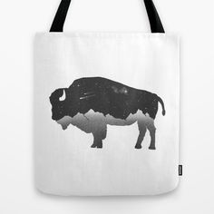 The Buffalo - Tote bag design by Zach Terrell #buffalo #bags #fashion #blackandwhite #mountains #nature #cool #white #society6 #s6totes