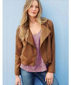 Brown Inclined Zipper Tassels Back Jacket Coat