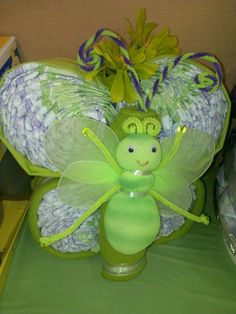 Butterfly diaper cake I made for my daughter Star baby shiwer.