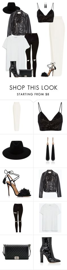 """Causal X Formal monochrome"" by kwasheretro on Polyvore featuring Monique Lhuillier, Fleur du Mal, rag & bone, SUSAN FOSTER, Aquazzura, Zara, Topshop, Chanel and Gianvito Rossi"