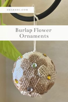 These DIY burlap flower ornaments are so unique and such a fun craft to do. The burlap flowers make these ornaments look a bit rustic. They are super easy to make too! Learn how to make these ornaments with step-by-step instructions and a list of the supplies you'll need. #DIY #ornaments #holidays #holidayDIY #holidaycrafts #crafts #crafting #easyDIY #DIYideas #Christmas #tree #flowers