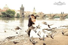 Pre wedding photos with amazing couple from Asia - view at Charles Bridge.