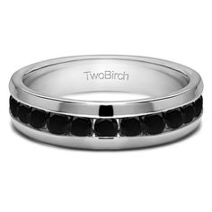 14k White Gold Men's 4/5ct TDW Black Diamond Channel-set Wedding Ring (14k Two Tone Gold, Size 7.5), Two-Tone