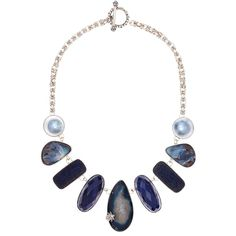 Stephen Dweck Silver Blue Gemstone Druzy Necklace ($5,690) ❤ liked on Polyvore featuring jewelry, necklaces, toggle chain necklace, gemstone necklaces, silver necklace, chain necklace and gemstone pendants