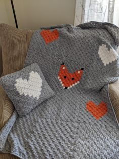 Crocheted Fox and Heart themed child size afghan and pillow. Matching set perfect for crib, toddler bed or just snuggling. Afghan is 55 X 34 Pillow is 15 square Handmade Valentine Gifts, Valentine Day Gifts, Mouse Crafts, Heart Pillow, Crochet Fox, Baby Afghans, Seed Bead Jewelry, Fox Baby, Throw Pillows