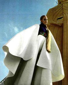 Nina Ricci 1970s designer couture vintage fashion photo print ad model magazine white pant suit cap blouse