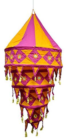 Indian Traditional Hanging Lampshade Embroidered Mirror Work Home