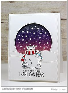 Polar Bear Pals Stamp Set and Die-namics, Starry Circle Die-namics, Stitched Snow Drifts Die-namics - Karolyn Loncon  #mftstamps