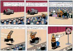 DirkJan comic strip: crowd surfing is a no-no at piano recitals...