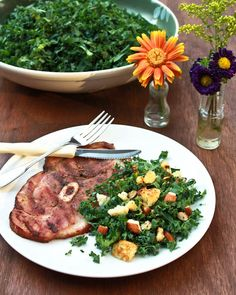 Grilled Ham Steaks with Southern Kale Salad