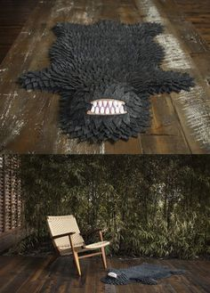 The Monster Skin Rugs are hand made with wool felt by artist Joshua Ben Long // http://www.longoland.bigcartel.com