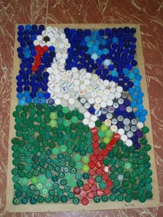 čáp Recycled Art, Recycling, Bottle, Cap, Home Decor, Cool Ideas, Bottle Caps, Recycled Bottles, Plugs