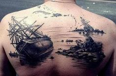awesome pirate ship tattoo