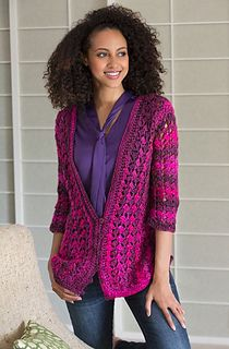 "Lacy Cardigan - Free Redheart crochet pattern by Annette Stewart. Finished Bust: 34½ (37½, 40½, 44, 48)""."