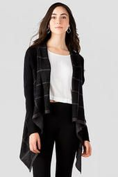 """The """"Quinn Plaid Sweater Wrap"""" is the perfect sweater to wear opening Christmas gifts with the family. It is long enough to wear with leggings and a cute pair of boots."""