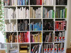 color coded book shelf