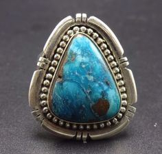 Signed Vintage NAVAJO Sterling Silver & Blue TURQUOISE RING, size 9.25