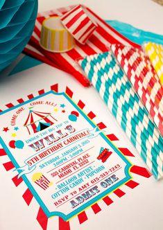Carnaval cumpleaños fiesta para imprimir invitación por