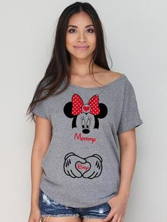 Mommy and Baby Minnie Mouse with Hands Disney Inspired Dolman Tee