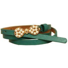 Pearls Bowknot Blue-green Waist Belt