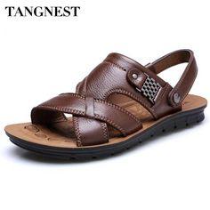 Tangnest Men Sandals 2017 New PU Leather Summer Slippers Men Casual Beach  Shoes Soft Bottom Slip