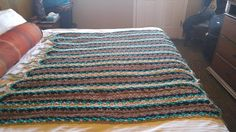 Crochet AFghan torq black brown and cream colors reminds me of Santa Fe or Western style mostly DC and SC.