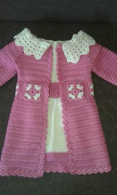 New fashion clothes for kids cardigans Ideas Crochet Dress Girl, Baby Girl Crochet, Crochet Jacket, Crochet Cardigan, Crochet For Kids, Knit Crochet, Crochet Baby Sweaters, Crochet Baby Clothes, Baby Knitting