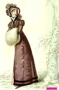 1823  March.  Pelisse, or Walking Dress, or Redingote. Brown walking dress decorated with braid, white fur muff, hat to match.   Fashion Plate via Rudolph Ackermann's 'The Repository of Arts'. Series 3 Volume 1.  suzilove.com