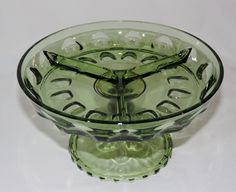 """Nice """"Kings Crown-Thumbprint"""" relish/candy/nut dish by Indiana Glass, made for Tiara Glass."""