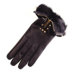 Black Rabbit Lined Leather Gloves with Gold Zip and Studs