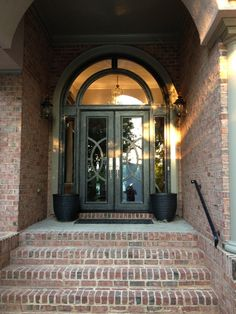 LOVE the idea of transitional look to our house front doors. Contemporary Sidelight Design Clark Hall Iron Doors Charlotte, NC