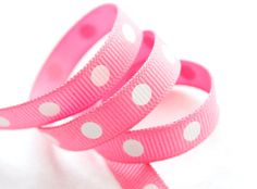 BubbleGum Pink with White Polka Dots 5 yards by HairbowSuppliesEtc