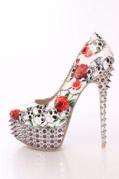 Black Red Skull Rose Print Pump High Heels Patent High Heel Pumps, Pumps Heels, Stiletto Heels, Skull Shoes, White High Heels, Bling Shoes, Prom Heels, Womens High Heels, Rose
